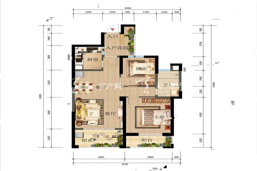 俊发观云海 5 6栋C户型2室2厅1卫建筑面积:92平米.jpg