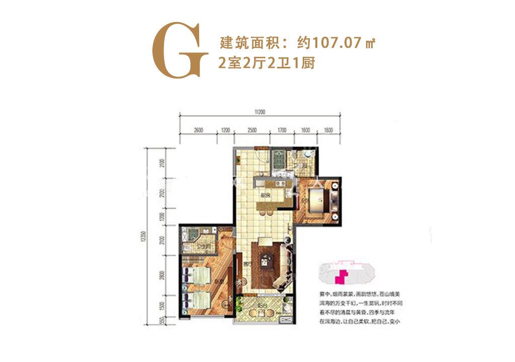 洱海寰球时代 G户型2室2厅2卫1厨建筑面积107.07㎡.jpg