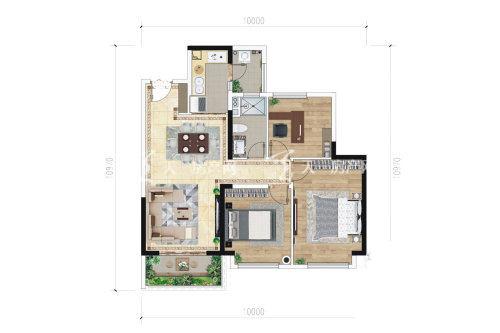 绿地滇池国际健康城 B-3户型3室2厅1卫1厨建筑面积约90.00平米.jpg