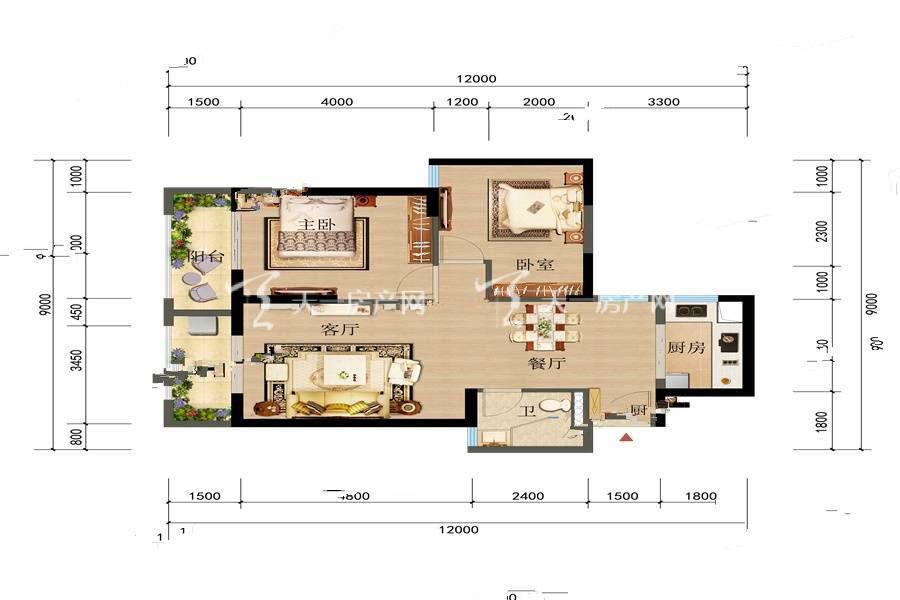 俊发观云海 1 2栋B户型2室2厅1卫建筑面积:86平米.jpg