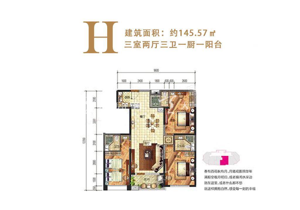 洱海寰球时代 H户型3室2厅3卫1厨建筑面积145.57㎡.jpg