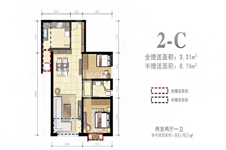 外滩名著 2-C户型2室2厅1卫1厨86.40㎡.jpg