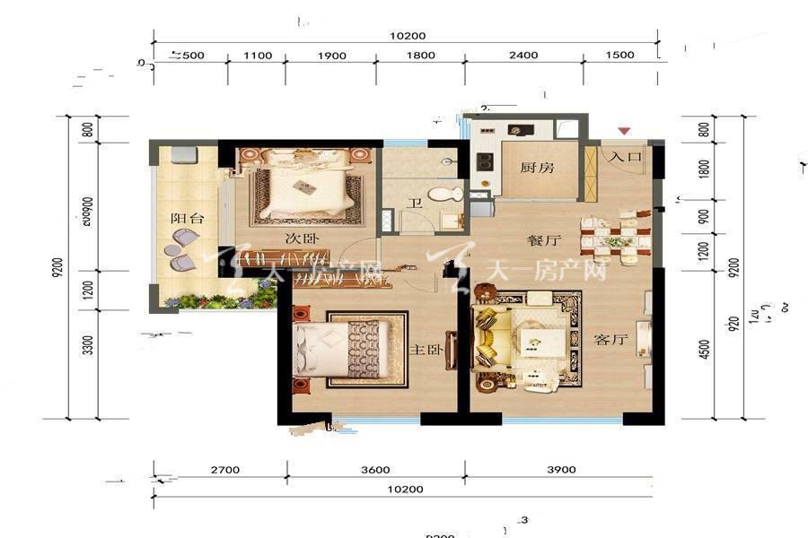 俊发观云海 1 2栋C户型2室2厅1卫建筑面积:81平米.jpg