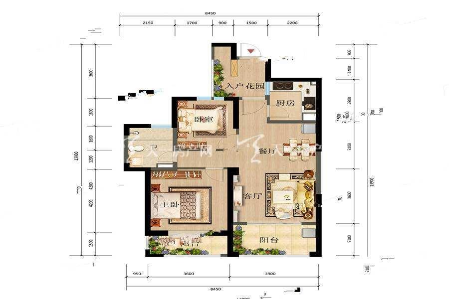 俊发观云海 5 6栋B户型2室2厅1卫建筑面积:86平米.jpg