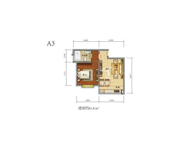 中铁绿景家园1房2厅1厨1卫建筑面积61