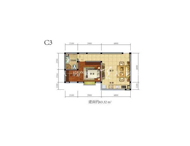 中铁绿景家园1房1厅1厨1卫建筑面积63