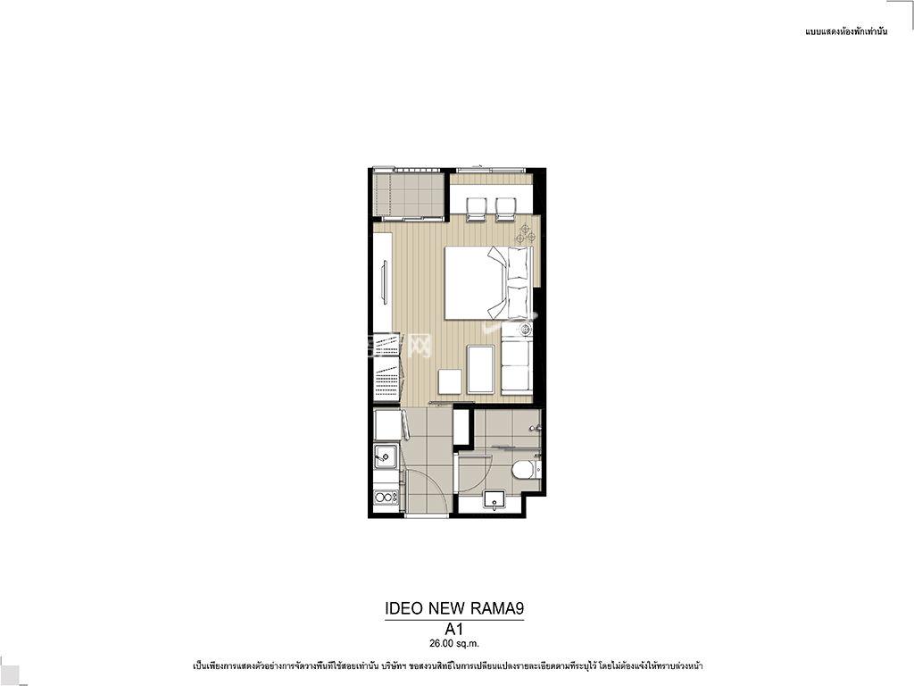 曼谷Ideo New Rama 9 A1户型 26.00㎡.jpg