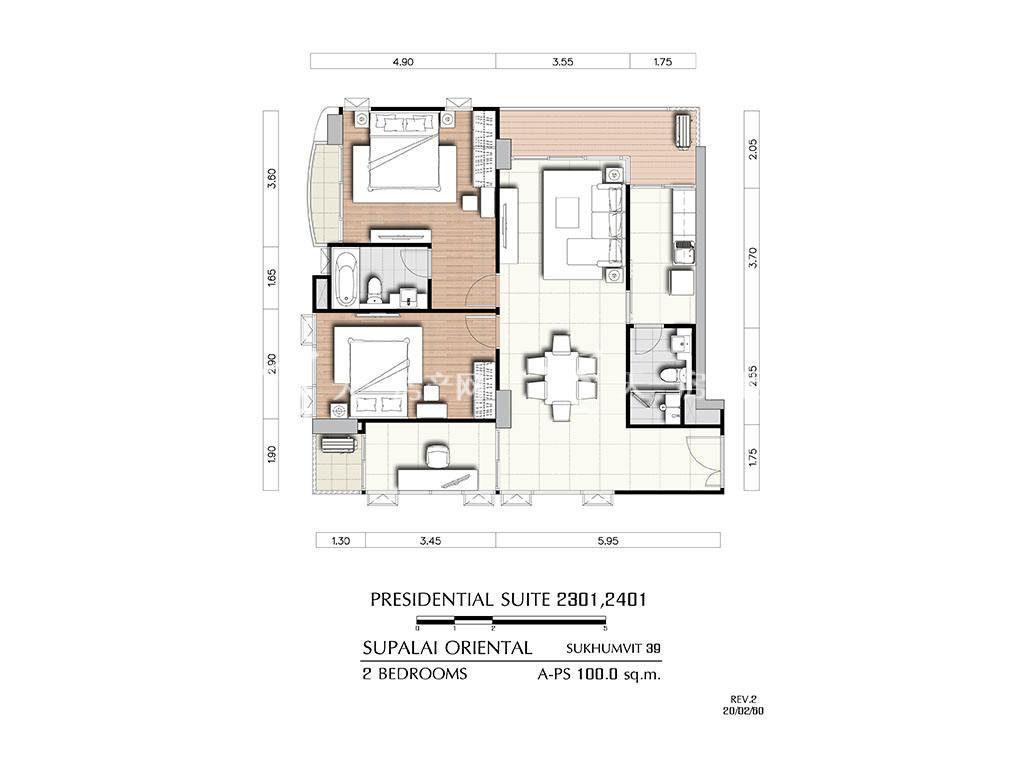 曼谷东方国际公寓 a-ps2301_2401户型-2房2厅-建筑面积100㎡
