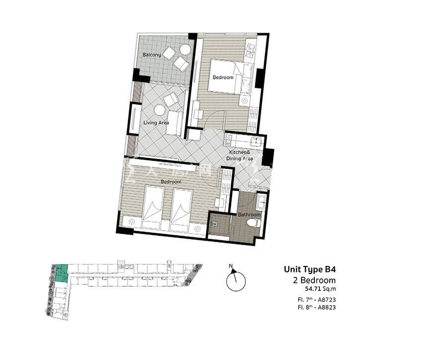 芭提雅D-ECO雅居生态公寓 B4户型-2房1厅-建筑面积54.71㎡.jpg