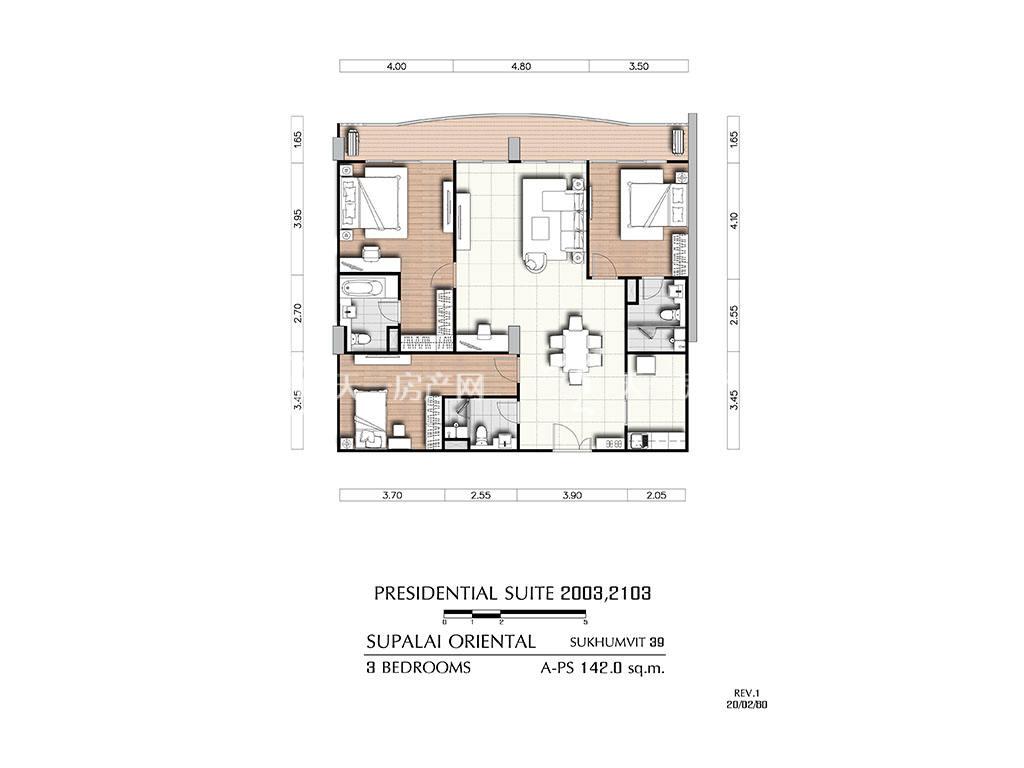 曼谷东方国际公寓 a-ps2003_2103户型-3房2厅-建筑面积142㎡