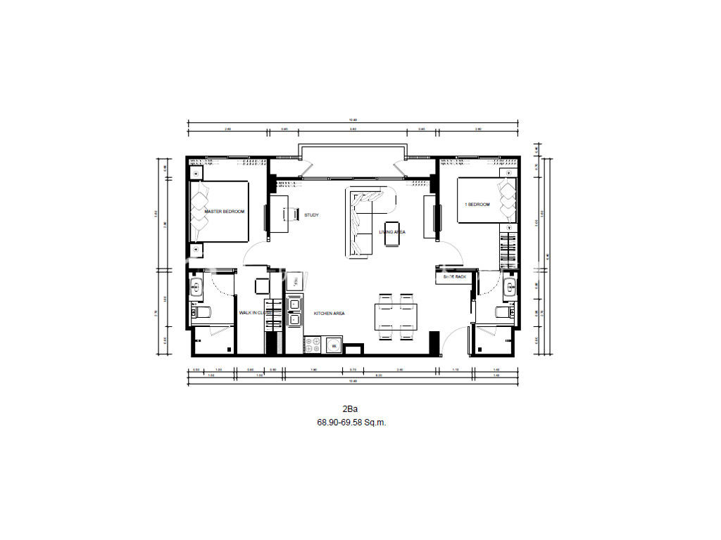 东方花园 2Ba户型-2房2厅-建筑面积68.90-69.58㎡.j