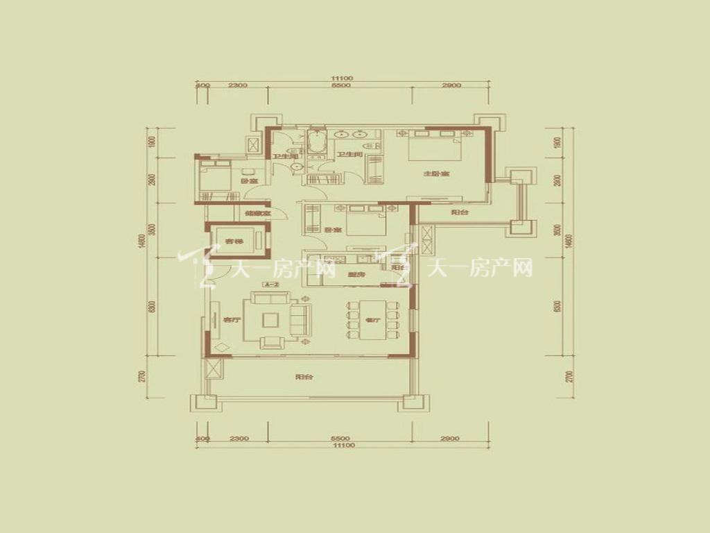 天隆三千海 泊心岸2栋A-2户型3室2厅2卫1厨建筑面积161.13㎡