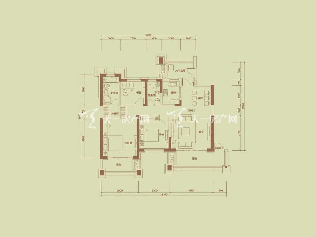 天隆三千海 珊瑚园7栋B-1户型3室2厅2卫1厨建筑面积138.45㎡