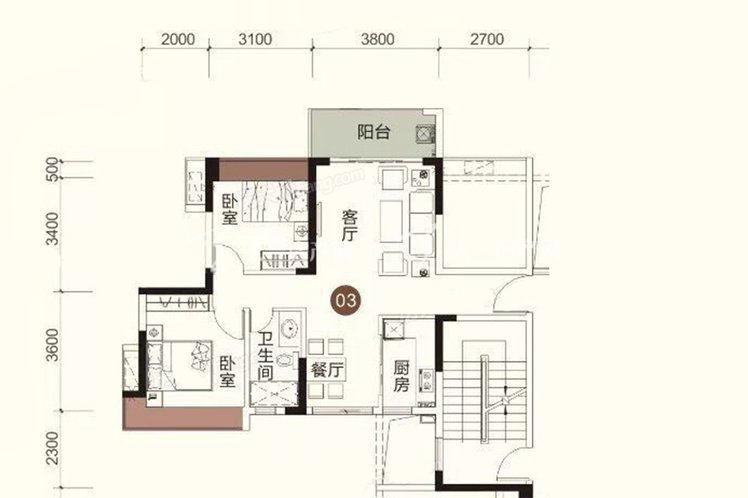 祥圣富地 2室2厅1卫1厨 建筑面积:77.64㎡