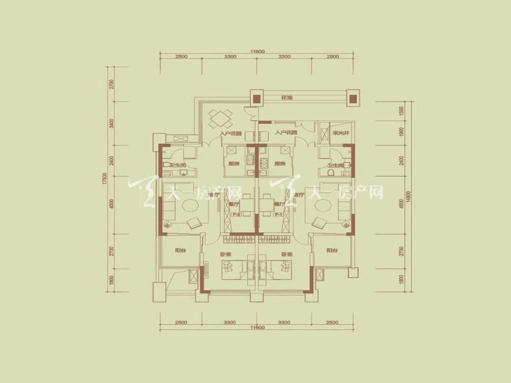 天隆三千海 泊心岸1栋F-1-2户型1室2卫1卫1厨建筑面积76.89