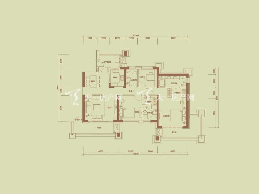 天隆三千海 珊瑚园7栋B-2户型3室2厅3卫1厨建筑面积155.19㎡