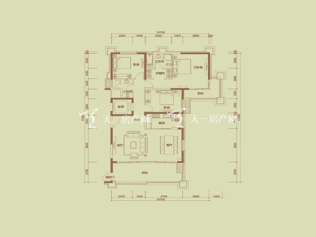 天隆三千海 泊心岸4栋A-2户型3室2厅2卫1厨建筑面积169.47㎡