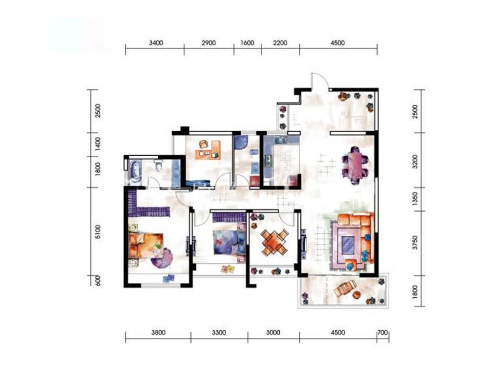 第九湾 12#13#03户型3室2厅1卫建筑面积约144平米