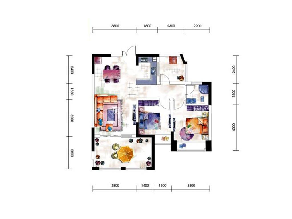 第九湾 9、10号楼两房户型2室2厅1卫建筑面积约89平米
