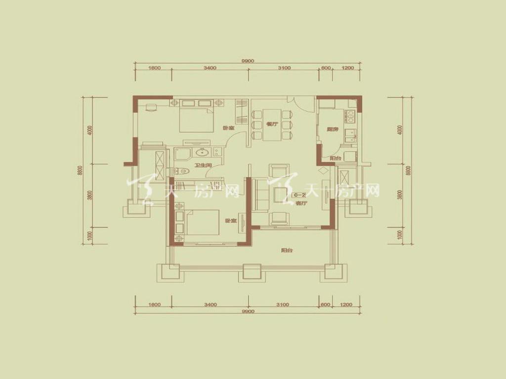 天隆三千海 泊心岸2栋C-2户型2室2厅2卫1厨建筑面积90.68㎡
