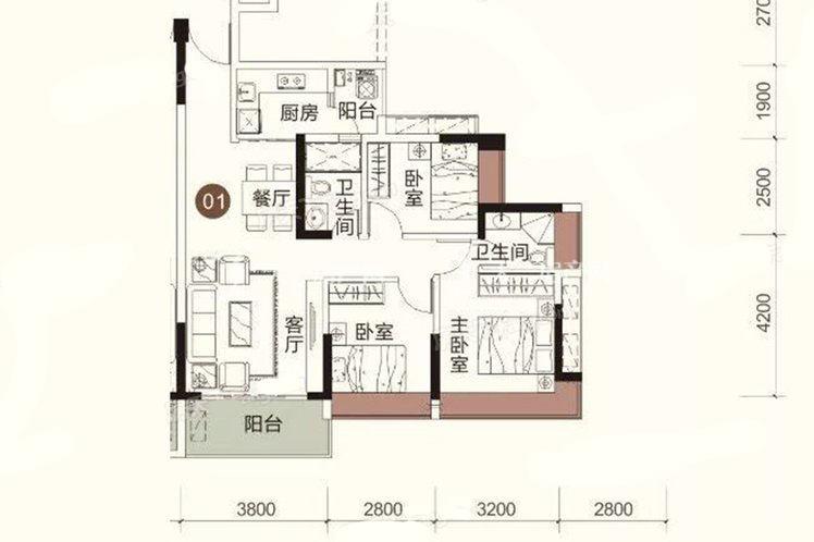 祥圣富地 3室2厅2卫1厨 建筑面积:90.94㎡