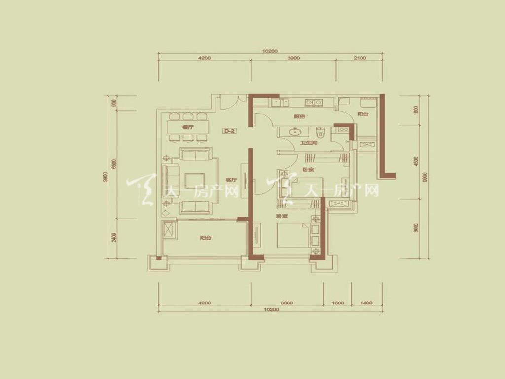 天隆三千海 泊心岸5栋D-2户型2室2厅1卫1厨建筑面积94.85㎡