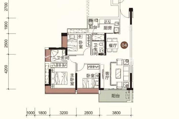 祥圣富地 3室2厅2卫1厨 建筑面积:92.86㎡