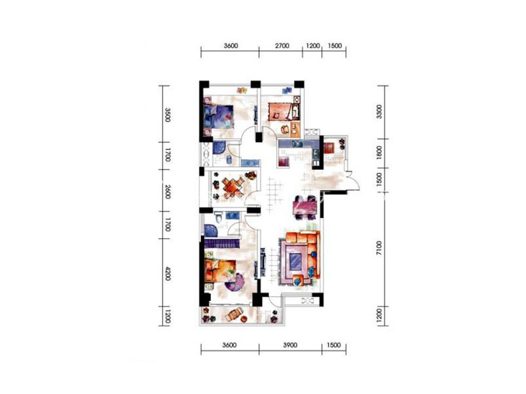 第九湾 9、10号楼01户型3室2厅2卫建筑面积约112平米