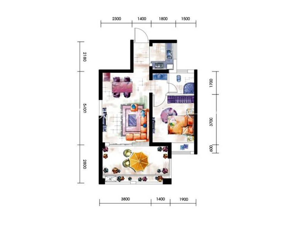 第九湾 11#楼2单元1室2厅1卫建筑面积约65平米