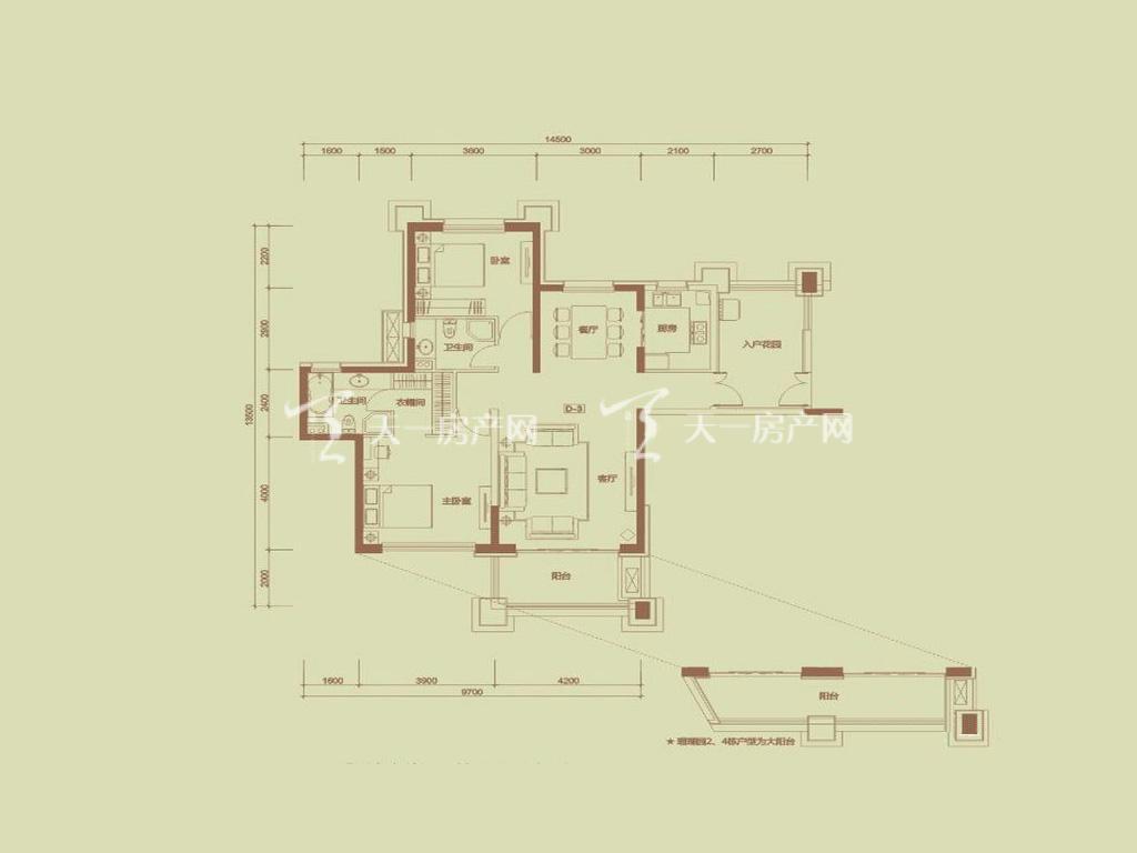 天隆三千海 泊心岸5栋D-3户型2室2厅2卫1厨建筑面积126.62㎡