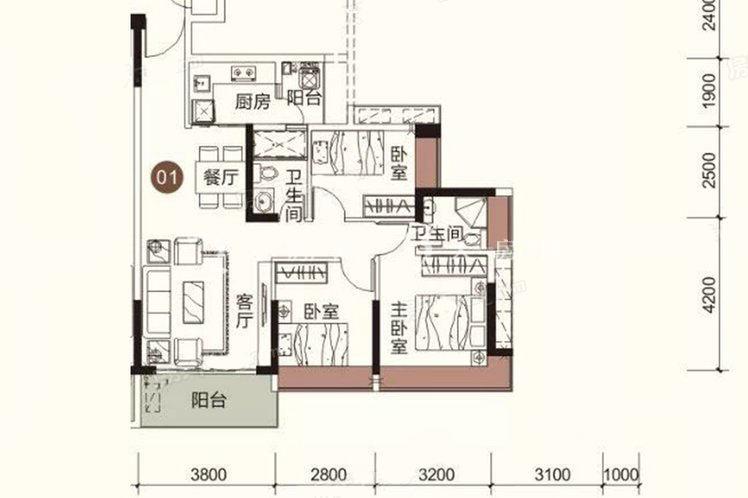 祥圣富地 3室2厅2卫1厨 建筑面积:91.74㎡