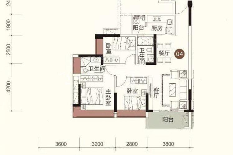 祥圣富地 3室2厅2卫1厨 建筑面积:90.81㎡