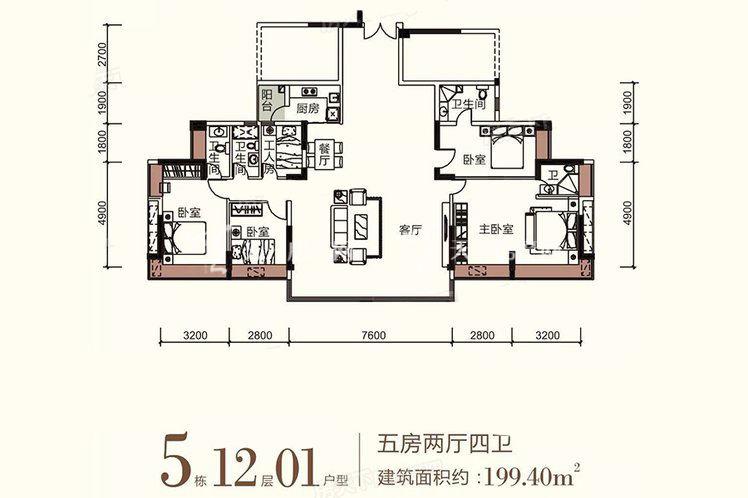 祥圣富地 5室2厅4卫1厨 建筑面积:199.40㎡