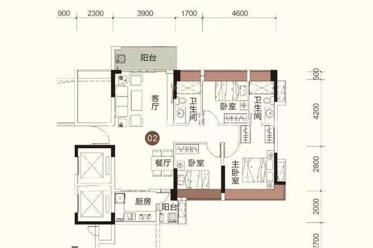祥圣富地 3室2厅2卫1厨 建筑面积:103.13㎡