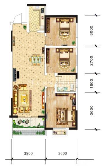 中电海湾国际社区B1户型-3室2厅1卫1厨-90.16㎡.jpg