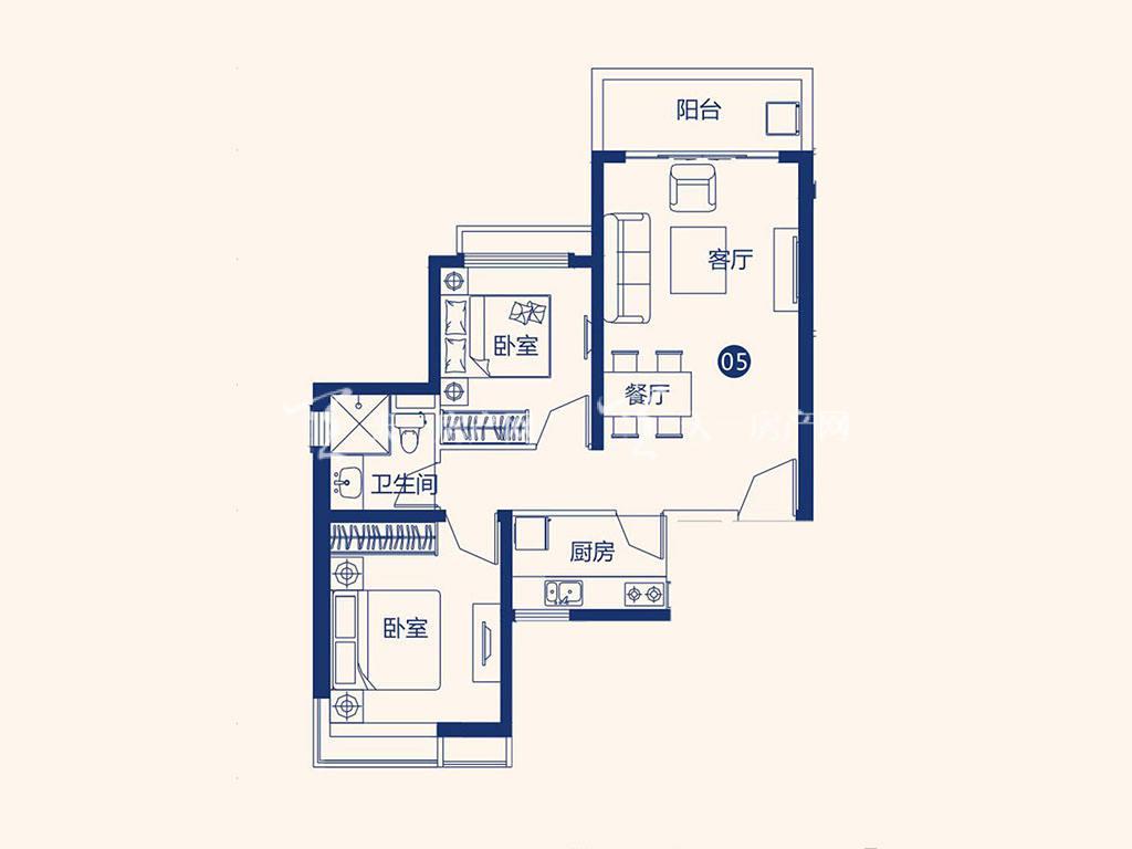 北海恒大御景半岛26#1单元05户型,2室2厅1卫,建筑面积约86.65平米.jpg