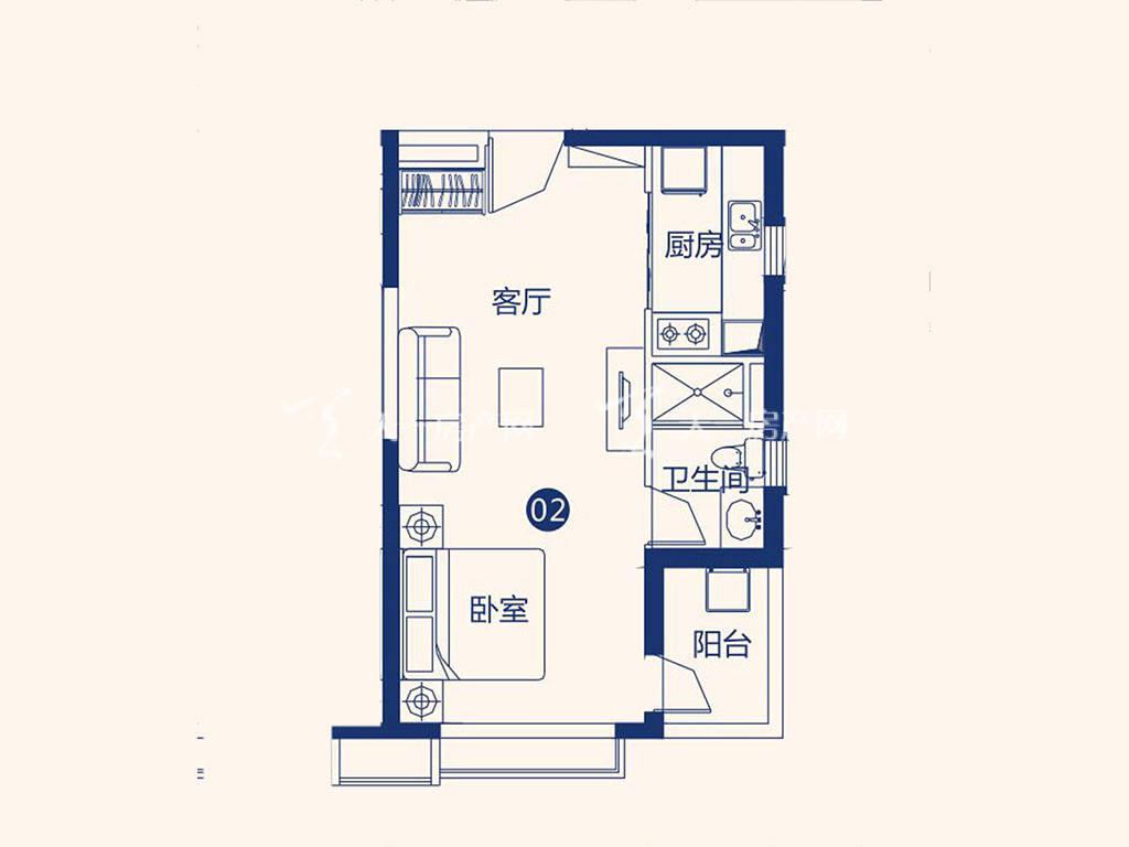 北海恒大御景半岛26#1单元02户型,1室1厅1卫,建筑面积约54.67平米.jpg