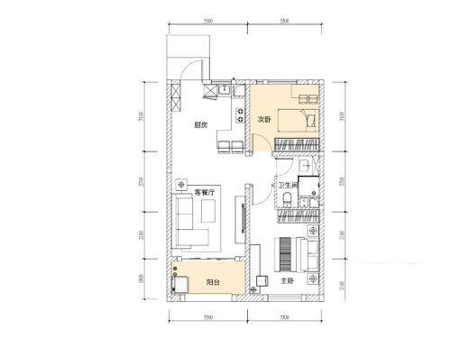 俊发玉龙湾G1户型2室1厅1卫1厨建面57㎡.jpg