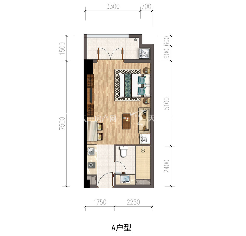 保利公馆-baoli mansionA户型建筑面积约47.38㎡.jpg