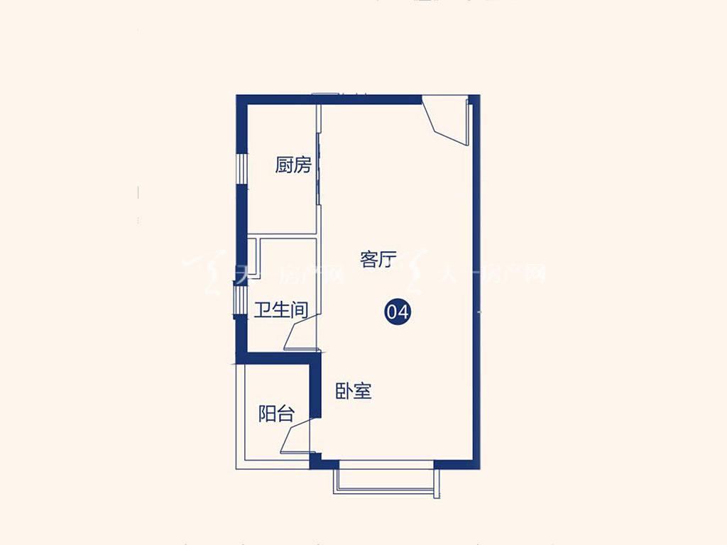 北海恒大御景半岛26#1单元04户型,1室1厅1卫,建筑面积约54.06平米.jpg