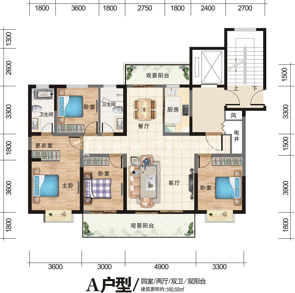 古滇未来城A户型4室2厅2卫双阳台-建筑面积160.55㎡.jpg