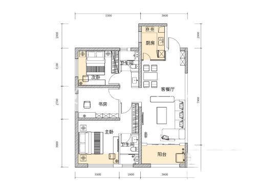 俊发玉龙湾F1户型3室1厅2卫1厨建面88㎡.jpg