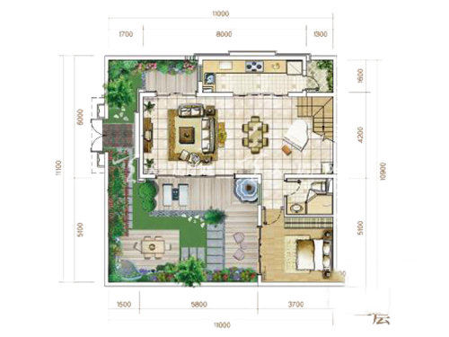 俊发玉龙湾C2户型联排4室2厅3卫1厨建面89㎡1层.jpg