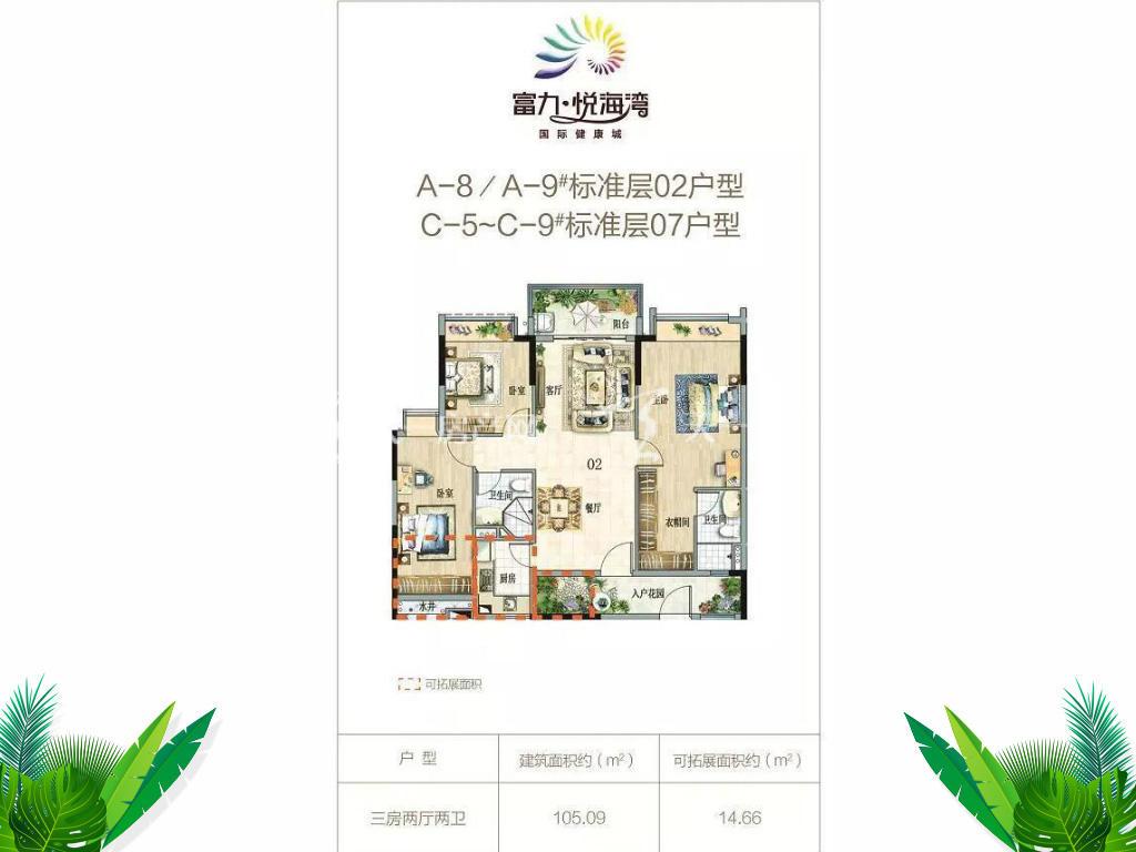 富力悦海湾02户型3房2厅2卫约105.09㎡.jpg
