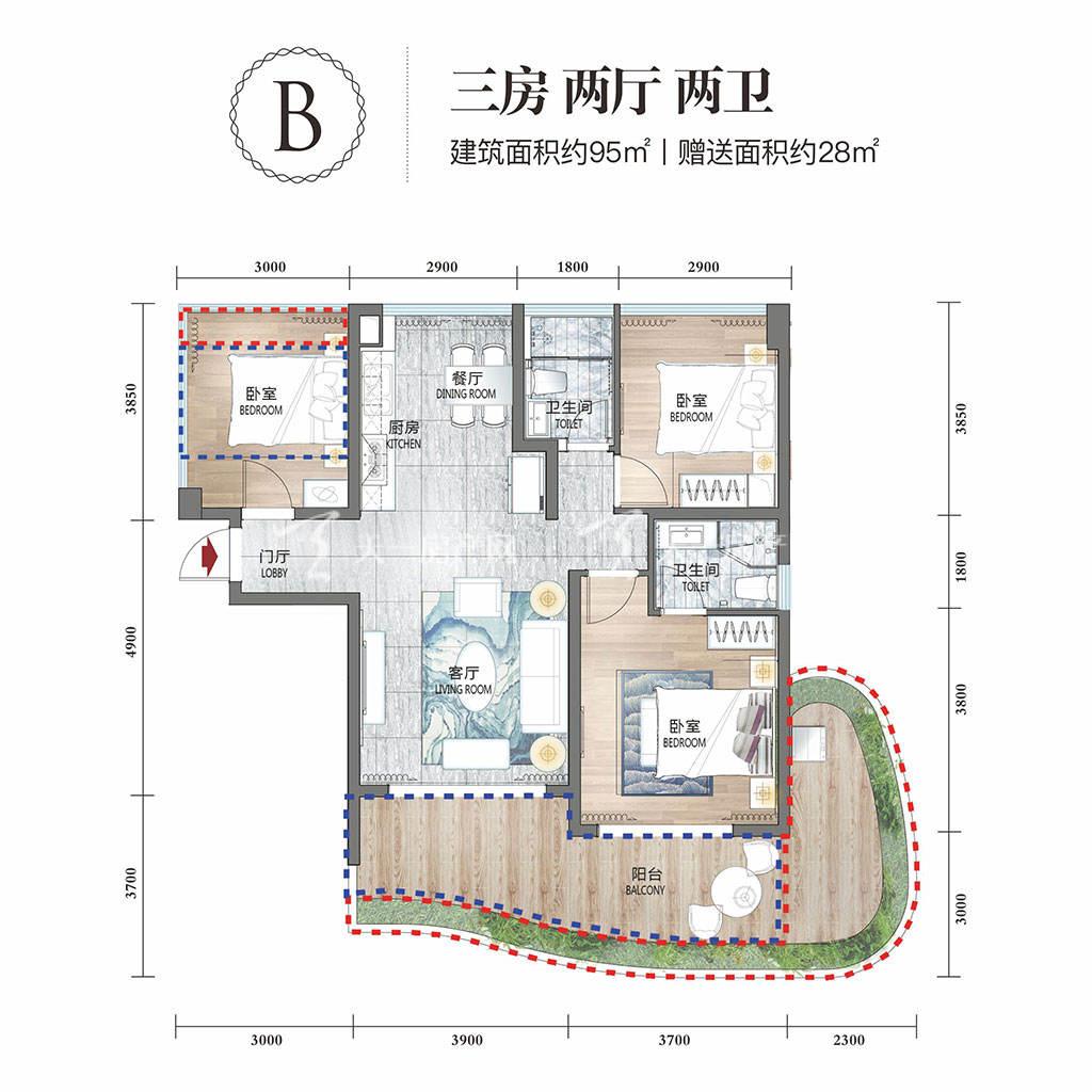 清凤海棠长滩三房两厅两卫建筑面积约95㎡.jpg