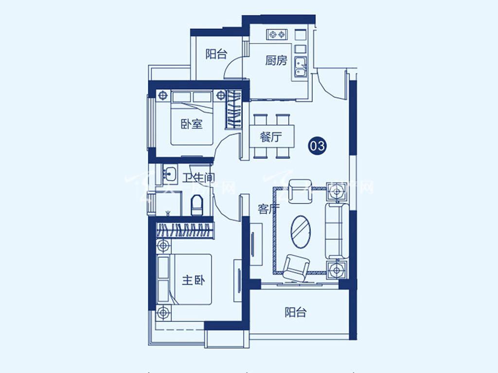 北海恒大御景半岛27-2-02、03户型,2室2厅1卫,建筑面积约88.34平米.jpg