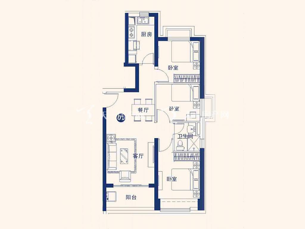 北海恒大御景半岛22#01户型,3室2厅1卫,建筑面积约99.12平米.jpg