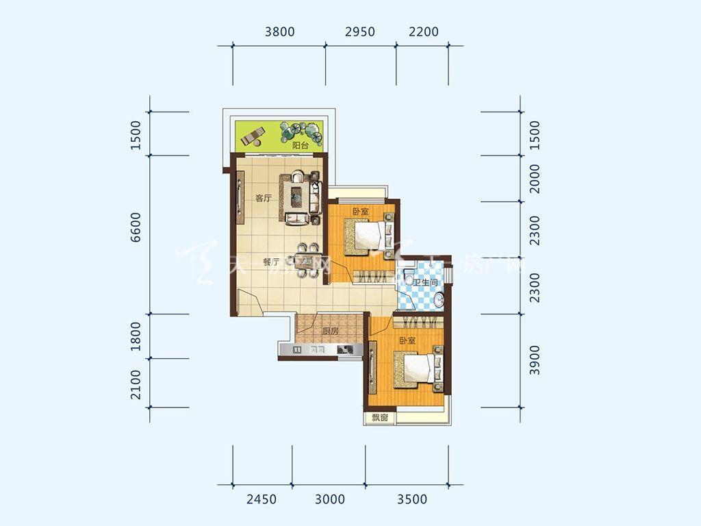 北海恒大御景半岛26#2单元01户型,2室2厅2卫,建筑面积约86.07平米.jpg