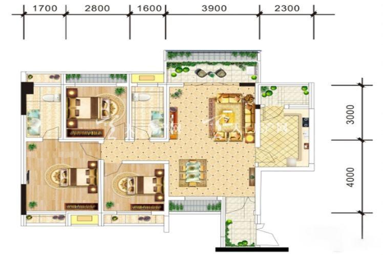 中电海湾国际社区C2户型-3室2厅2卫1厨-87.00㎡.jpg