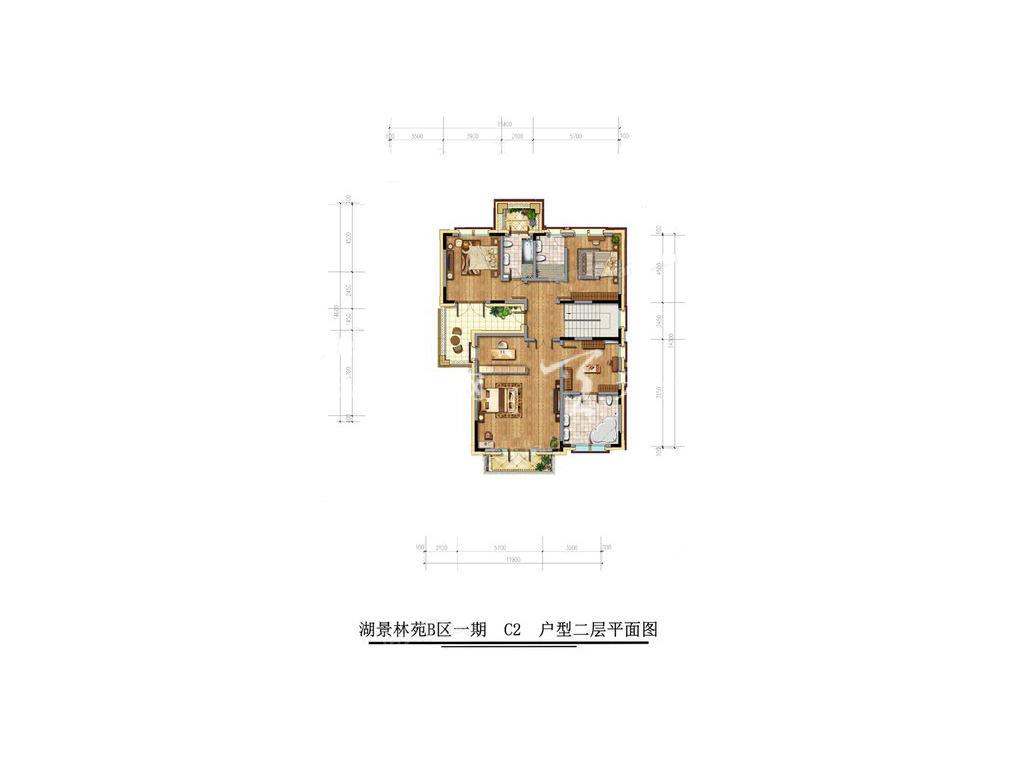 古滇名城湖景林苑B区C2户型5室3厅8卫1厨建面492㎡2层.jpg